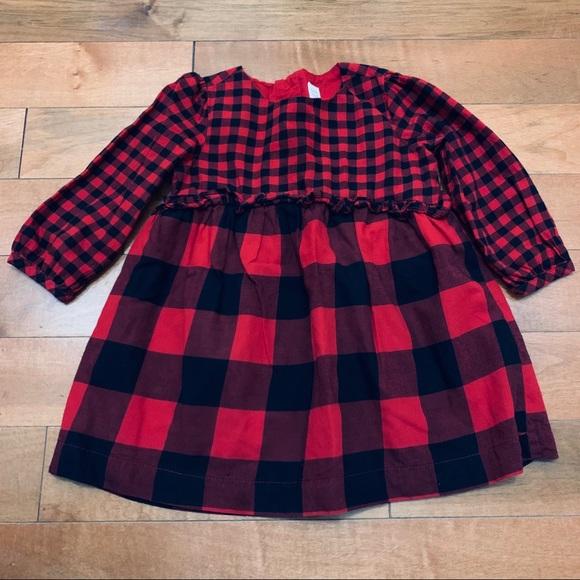 Baby Gap red and black buffalo plaid dress size 2